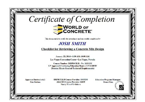 conference certificate template world of concrete 2017