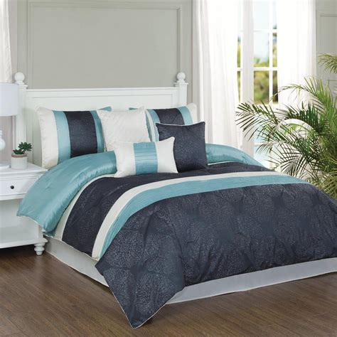 aqua king comforter sets duck river esy pintuck reversible navy 8 piece king