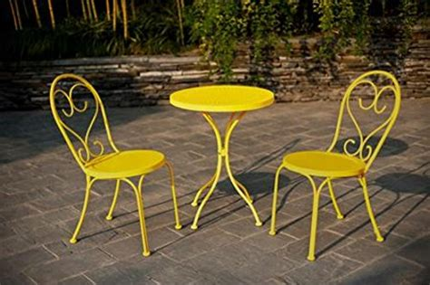 Yellow Bistro Table And Chairs Small Space Scroll 3 Chairs Table Outdoor Furniture Bistro Set Yellow Seats 3 Home