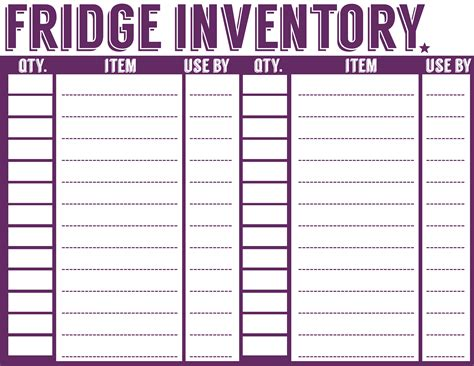 free printable grocery inventory list 7 best images of refrigerator inventory printable