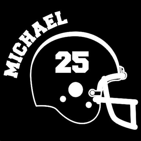 Window Decals Numbers by Custom Vinyl Football Helmet With Name And Number Car