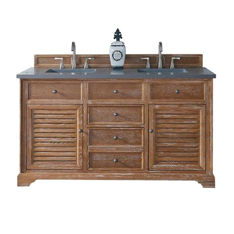 Martin Vanity by Martin Signature Vanities 60 In W Vanity In Driftwood With Quartz Vanity