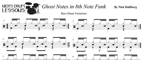Drum Tutorial Ghost | ghost notes with 8th notes nick s drum lessons