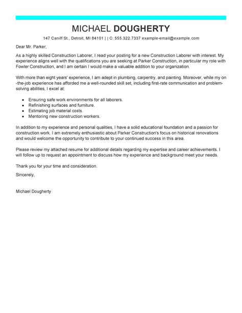 Construction Work Cover Letter Best Construction Labor Cover Letter Exles Livecareer