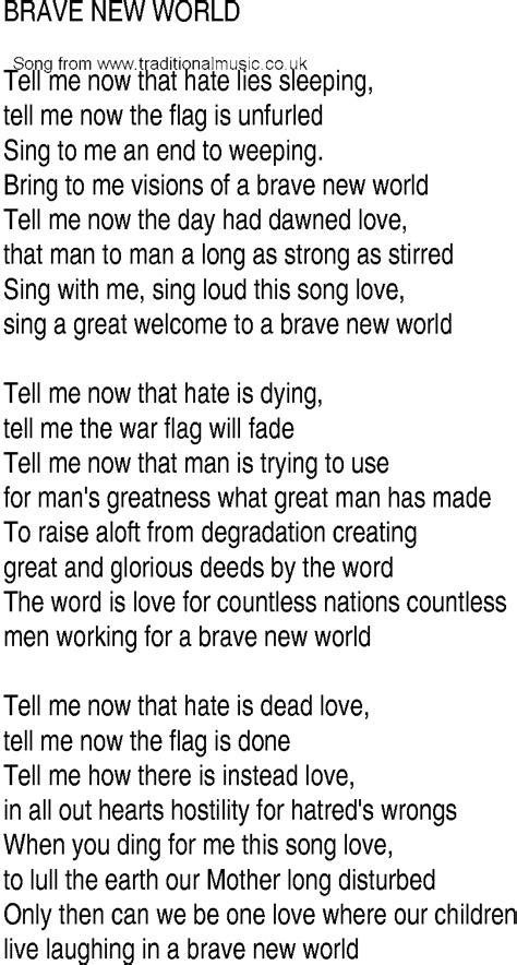 brave new world theme lyrics we are the world song lyrics