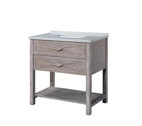 36 Inch Single Sink Bathroom Vanity With A Washed Oak