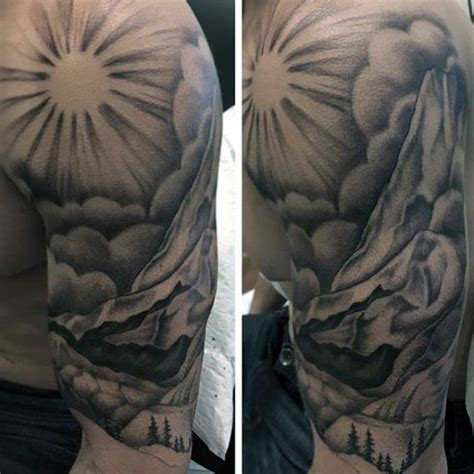 sun ray tattoos 90 landscape tattoos for scenic design ideas