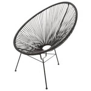 fauteuil de jardin rond noir copacabana maisons du monde