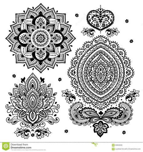 indian floral set ethnic mandala ornament vector henna set of indian floral ornaments mandala henna stock