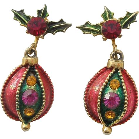 christmas earrings adults vintage ornament dangle clip earrings from the big o on ruby