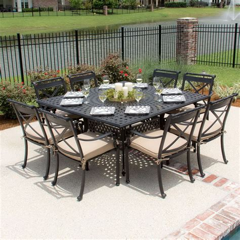 8 seat outdoor table patio table seats 8 darlee santa 9 cast aluminum