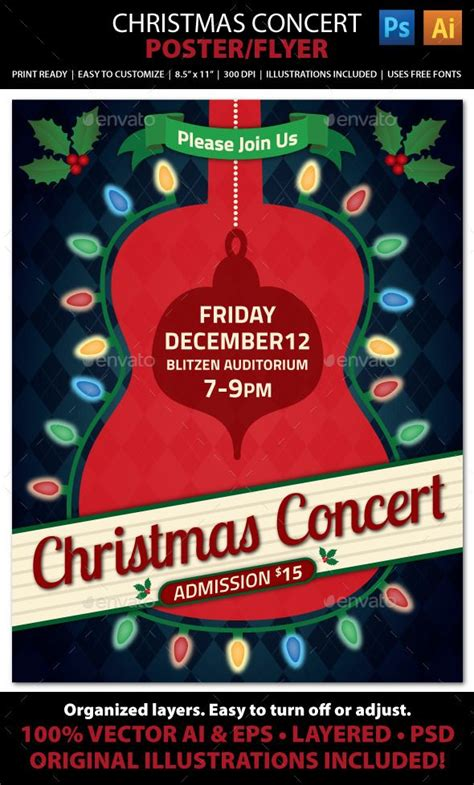 template flyer concert christmas concert music event flyer or poster event