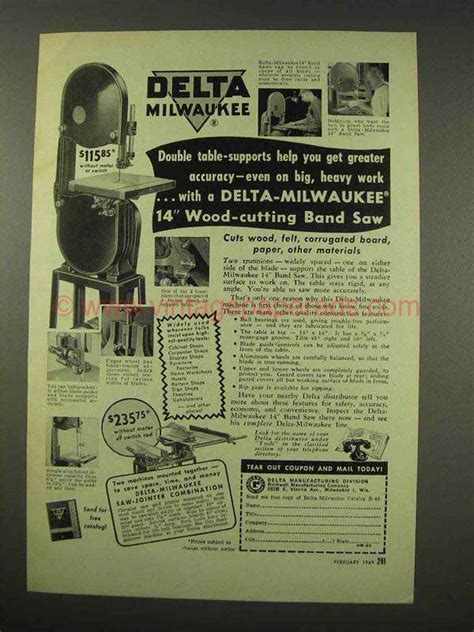 bands on a boat milwaukee 1949 delta milwaukee 14 quot wood cutting band saw ad