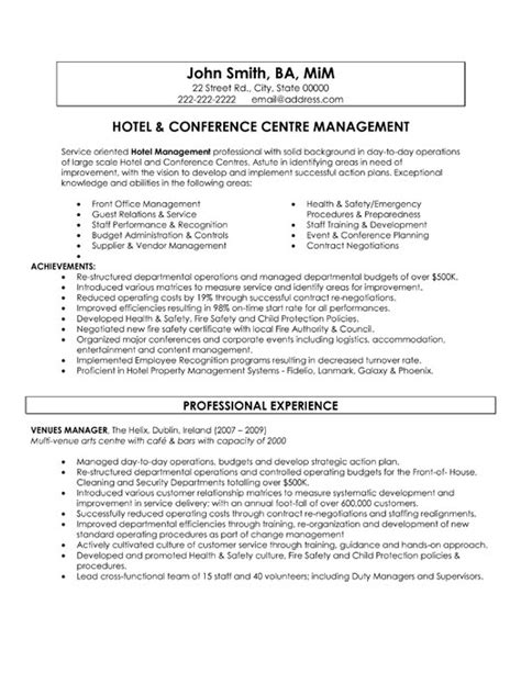 Resume Sles For Hospitality Management Conference Centre Manager Resume Sle Template