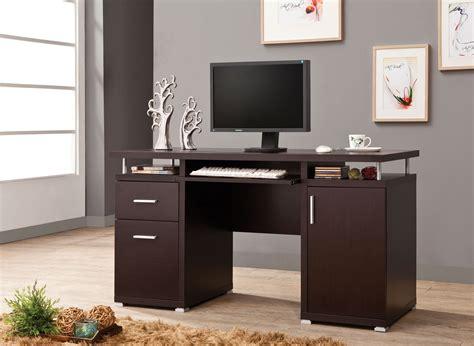 contemporary cappuccino wood keyboard tray computer desk