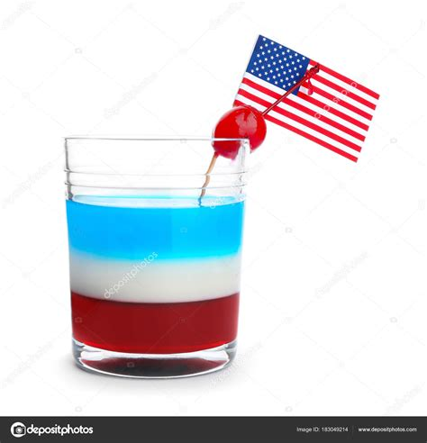 colors of american flag layered cocktail in colors of american flag stock photo