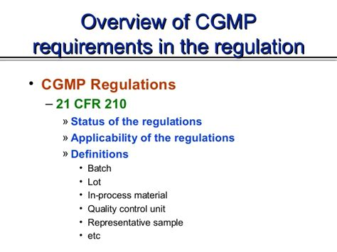 Enmu Mba Requirements by Cgmp In The Usa By Cder Fda