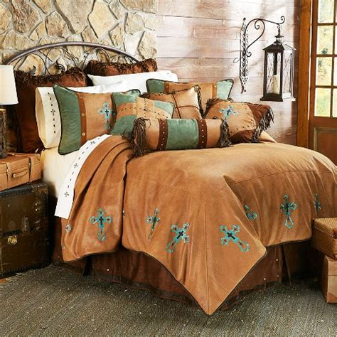 western bedding sets queen hxws4183q las cruces western turquoise cross bedding