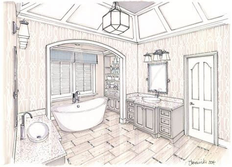 sketch of bathroom pin by marika kate on professional perspective rendering