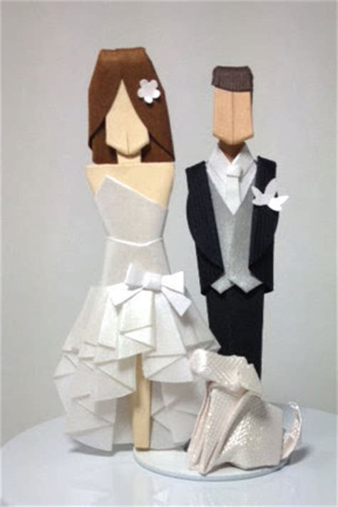 Origami Groom - my paisley world origami wedding cake toppers