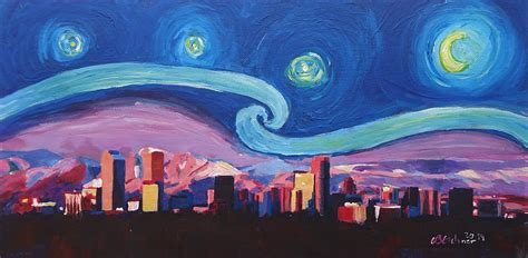 paint nite denver starry in denver colorado skyline with mountains