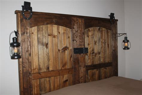 Our Completed Quot New Quot Old Barn Door Headboard Diy Barn Door Headboard