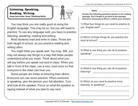 Listening Comprehension Worksheets by Listening Speaking Reading Writing 2nd Grade Reading