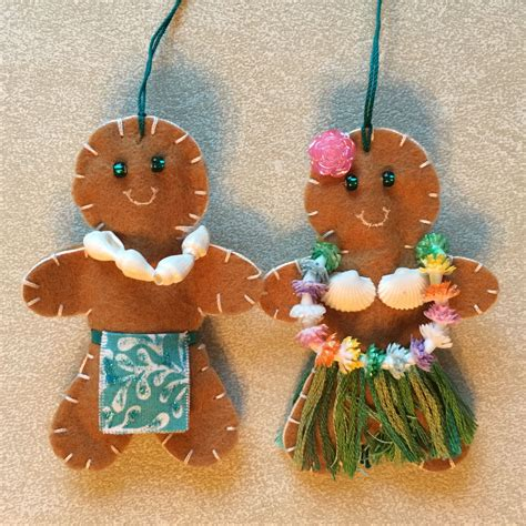 hawaiian gingerbread people christmas ornaments felt