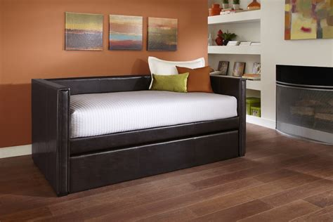 leather day bed furniture minimalist black leather daybed with trundle