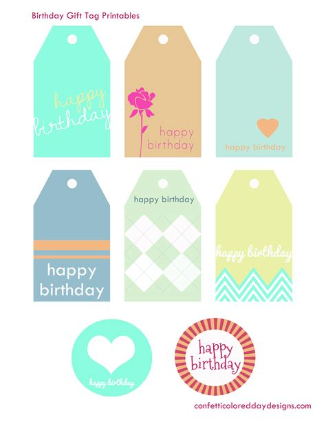 printable card tags free printable birthday gift tags from confetti colored