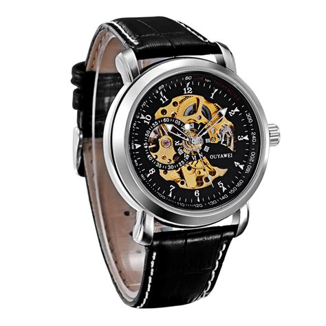 Hemat Ouyawei Skeleton Leather Automatic Mechanical Oyw1 ouyawei skeleton leather automatic mechanical oyw1306 silver black