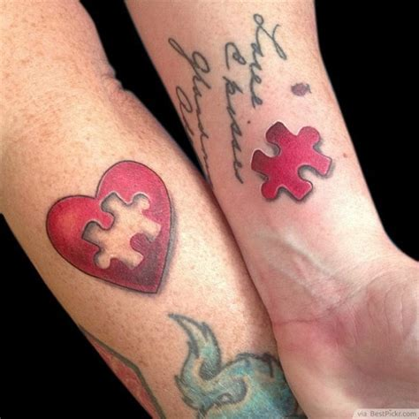 couples puzzle tattoos married tattoos on small couples