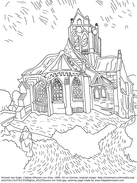 printable coloring pages van gogh free famous paintings gogh coloring pages