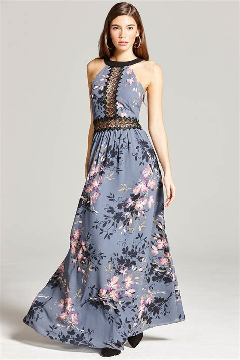 Maxi Lace Flower floral print and lace maxi dress from uk