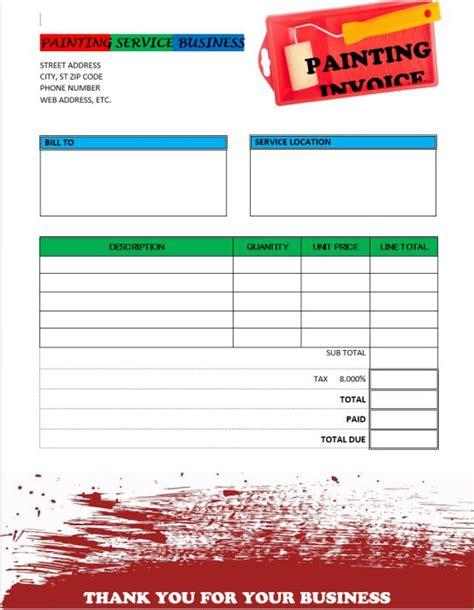 Painter Invoice Template 6 Free Invoice Templates In Word Demplates House Painting Invoice Template