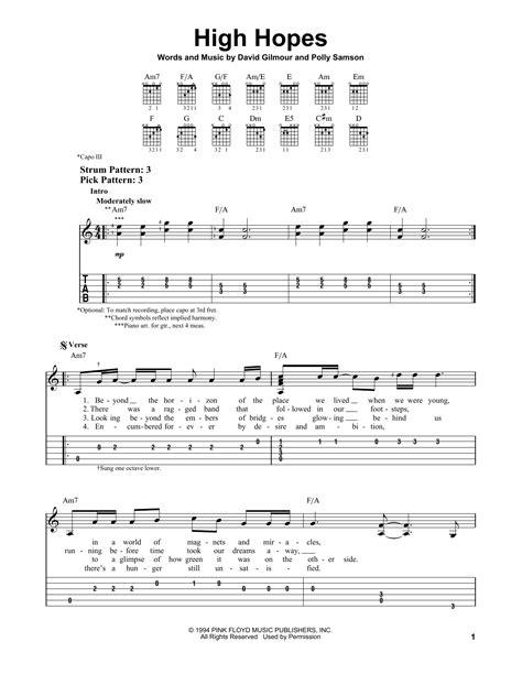 high hopes testo high hopes partition par pink floyd tablature guitare