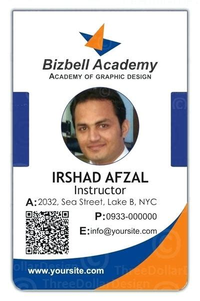 faculty id card template employee id card template for ms word corporate psd