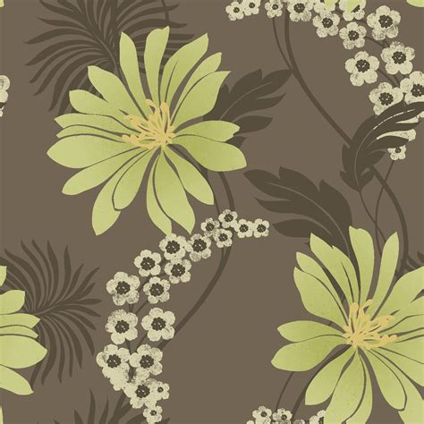 wallpaper green and brown k2 tahiti brown green floral wallpaper departments