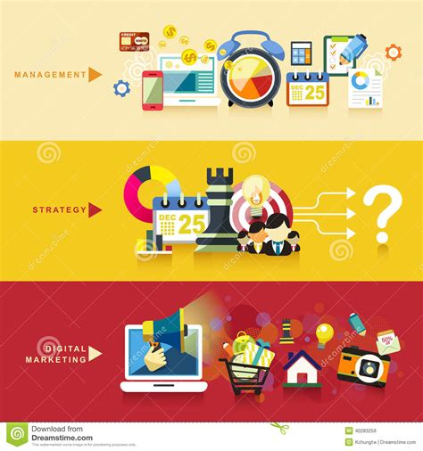 design management and marketing flat design for management strategy and digital marketing