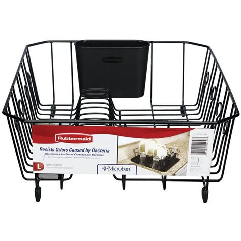 Rubbermaid Dish Rack by Rubbermaid Large Black Antimicrobial Dish Drainer