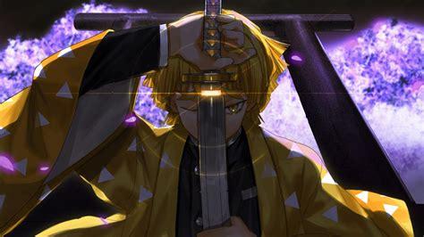 demon slayer zenitsu agatsuma  weapon  yellow eyes