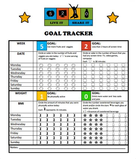 goal tracking template 9 download free documents in pdf