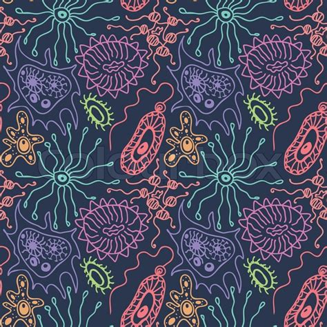 pattern lab organisms seamless pattern with bacteria and viruses in a cartoon