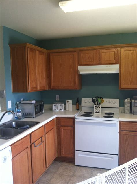 behr venus teal oak cabinets kitchen this looks like our