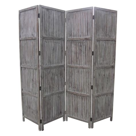 7ft room divider patina screen sg 155a 7 ft gray 4 panel room divider sg 155a the home depot