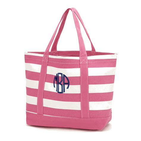 personalized striped tote monogrammed