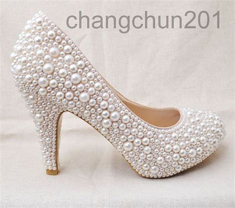Party queen pearls high heels cream pearl Wedding Shoes