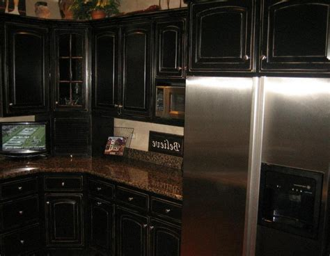 photos black distressed kitchen cabinets