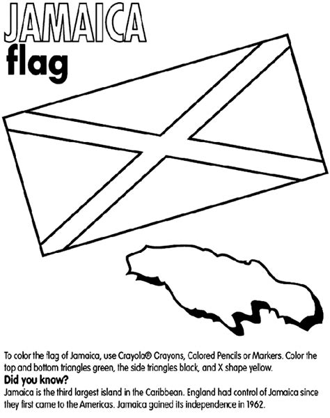 Jamaica Crayola Co Uk Jamaican Flag Coloring Page