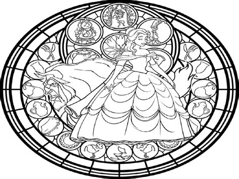 beauty and the beast stained glass coloring pages free beauty and the beast coloring pages